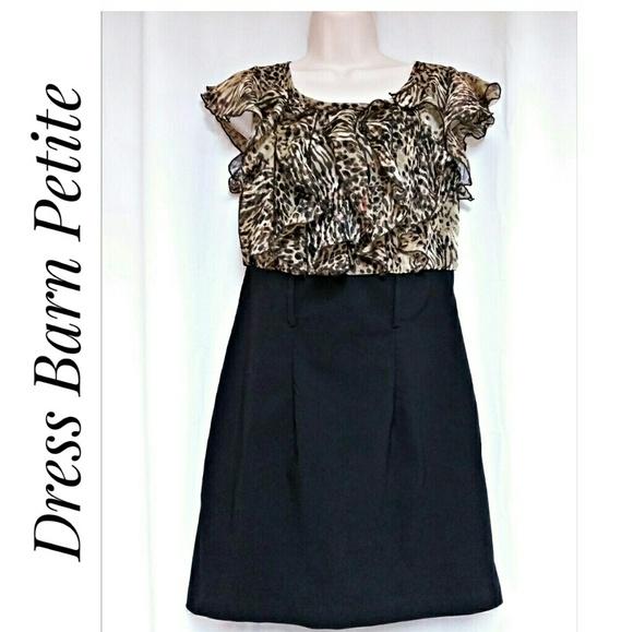 Dress Barn Dresses & Skirts - Dress Barn Leopard Ruffle Top Dress Petite Size 8